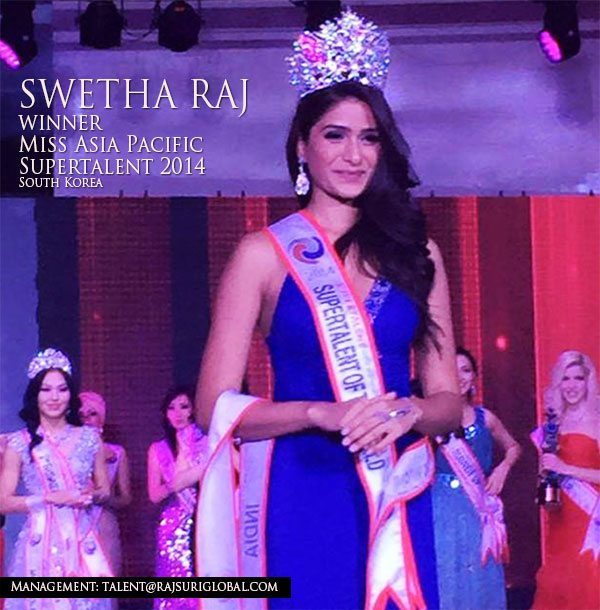 Swetha Raj – Miss India Australia 2014 wins Miss Asia Pacific Supertalent in Seoul