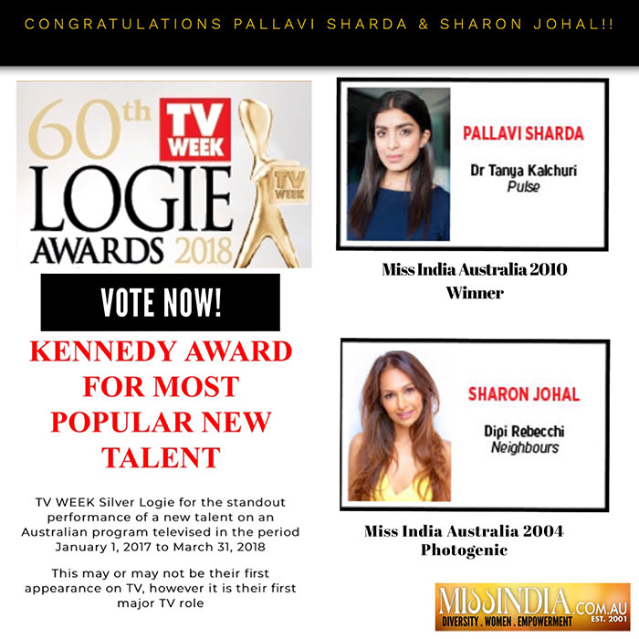 Former Miss India Australia Pallavi Sharda and Miss Photogenic Sharon Johal for TV Week LOGIES 2018
