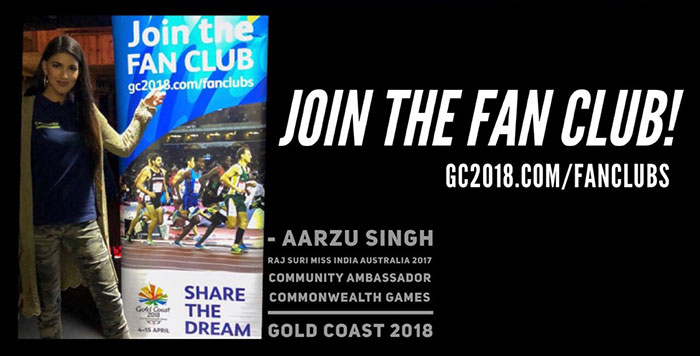 Miss India Australia Aarzu Singh Community Ambassador for Commonwealth Games Gold Coast  2018