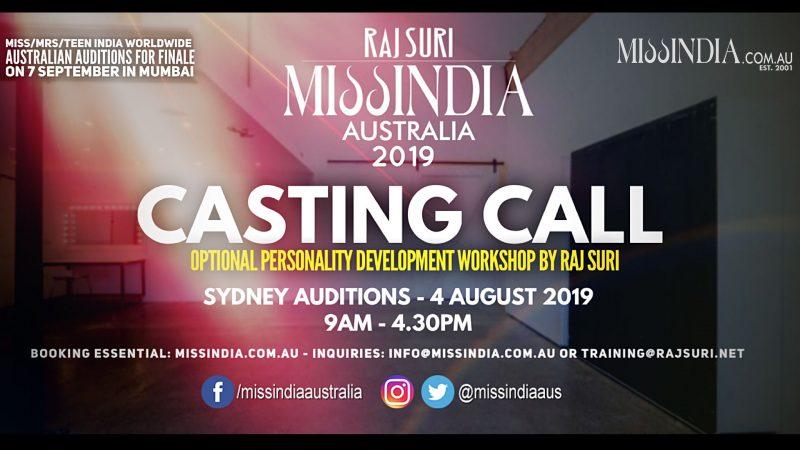 Casting Call Miss India Australia 2019